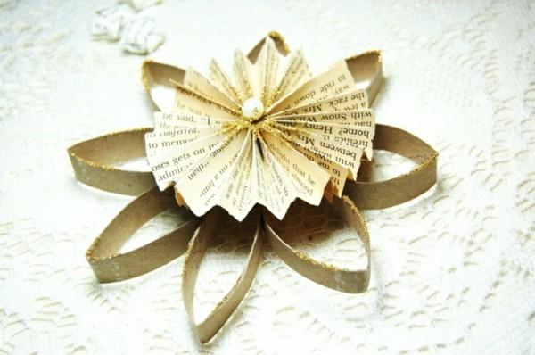 Weihnachtsstern Toilettenpapier und Zeitungspapier basteln