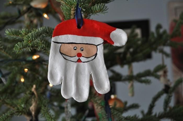 basteln mit salzteig weihnachtsmann christbaumschmuck
