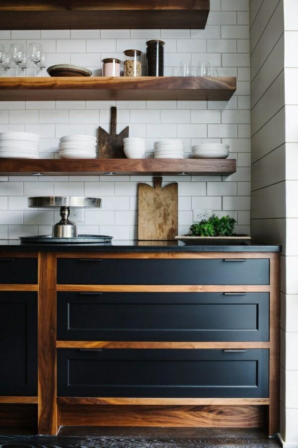 braun und schwarz küchenschränke