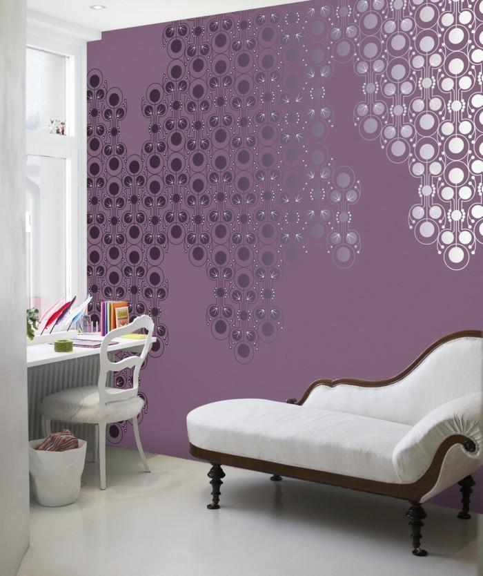 die farbe lila moderner schlafbereich schreibtisch
