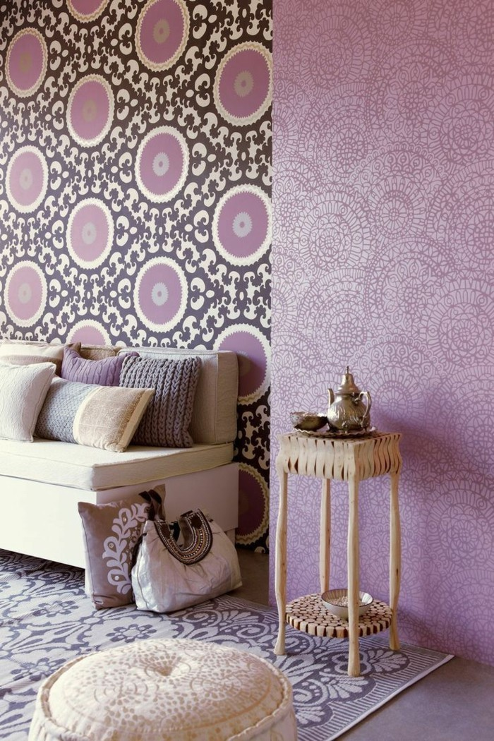 die farbe lila wunderschöne muster wohnbereich gestalten