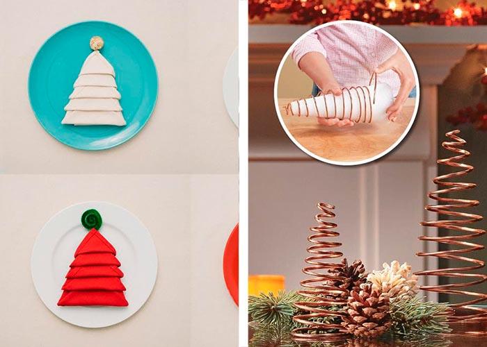 diy ideen für weihnachtstischdeko tannenbäume aus metall und servietten