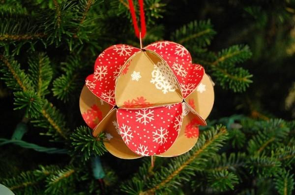 diy papierkugel schmuck weihnachten