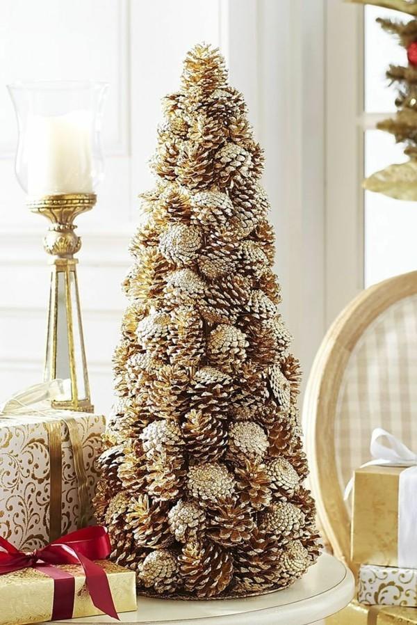 diy weihnachtsbaum tannenzapfen festliche dekoideen