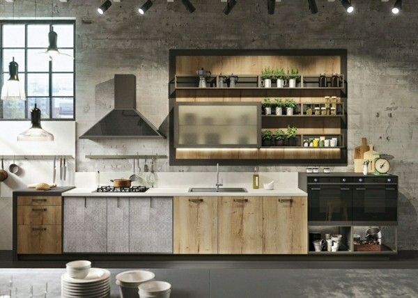 effektvolle moderne kombination küchenoberschränke und regale
