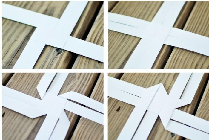 fröbelstern basteln anleitung mit weißem papier