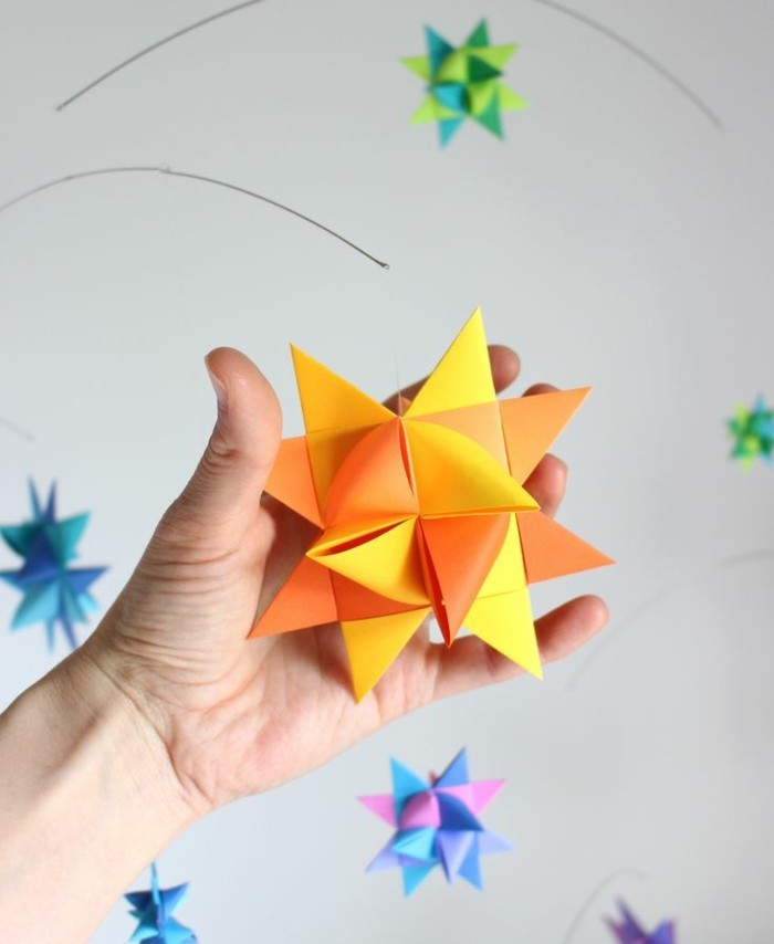 fröbelstern basteln geschenkpapier bastelpapier orange