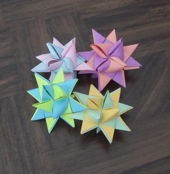 fröbelstern basteln tischdeko selber machen aus papier