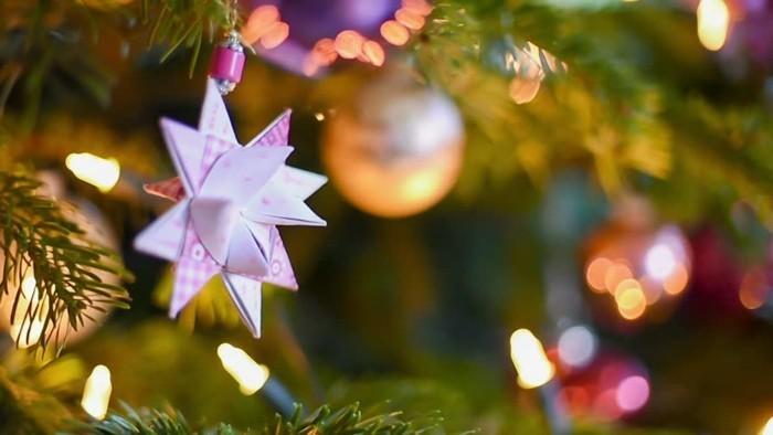 fröbelstern basteln weihnachtsbaumschmuck selber machen