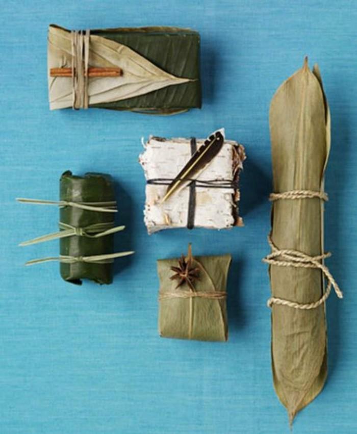 geschenke origenell verpacken weihanchtsbasteln geschenkideen bananenblaetter