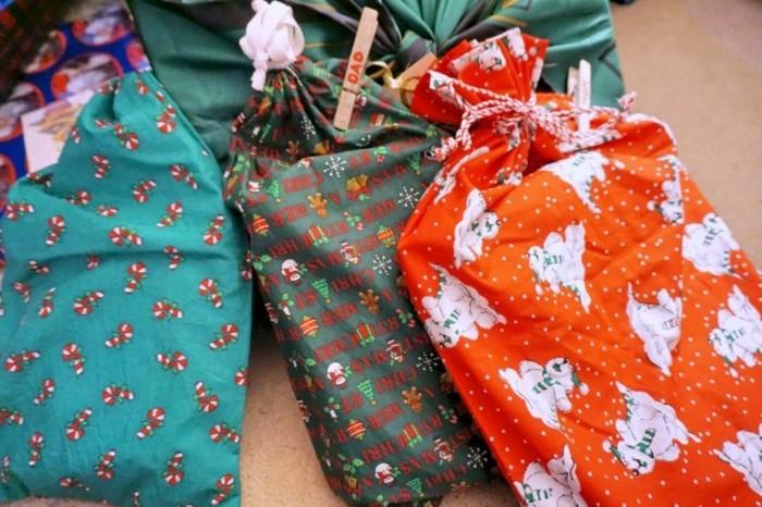 geschenke origenell verpacken weihanchtsbasteln geschenkideen stoffsaecke