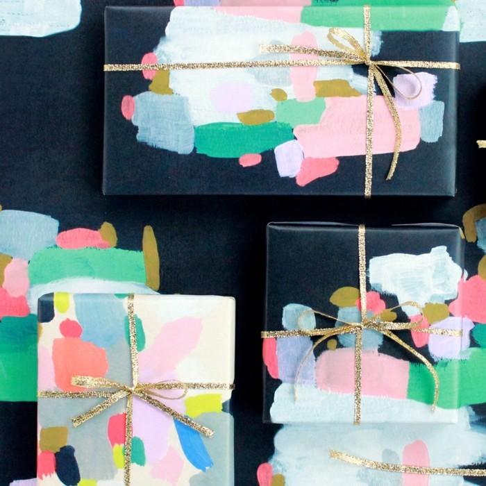 geschenkpapier weihnachten diy ideen acrylfarbe