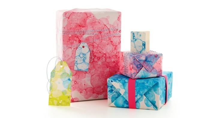 geschenkpapier weihnachten diy ideen aquarell