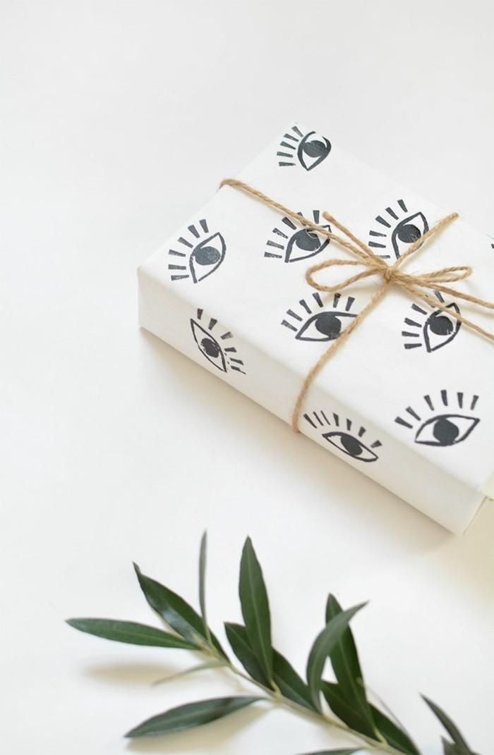 geschenkpapier weihnachten diy ideen augen