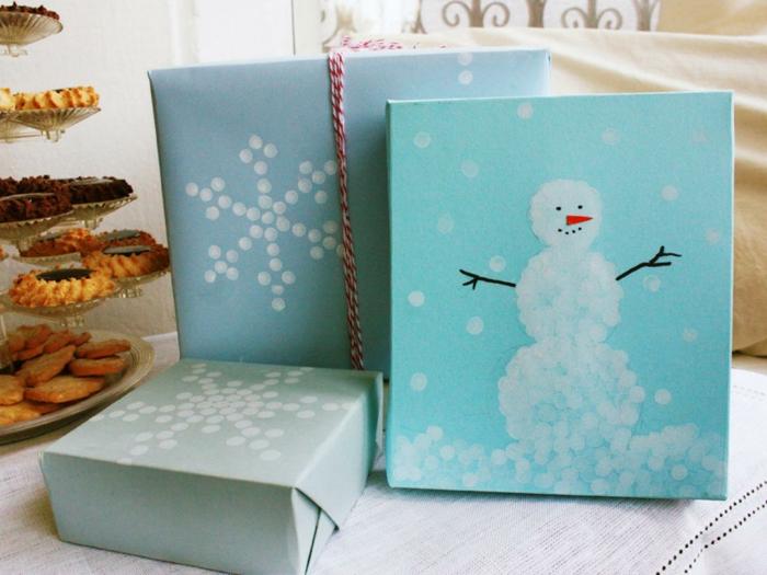 geschenkpapier weihnachten diy ideen bild malen