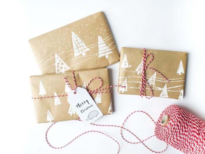 geschenkpapier weihnachten diy ideen farbe weiss
