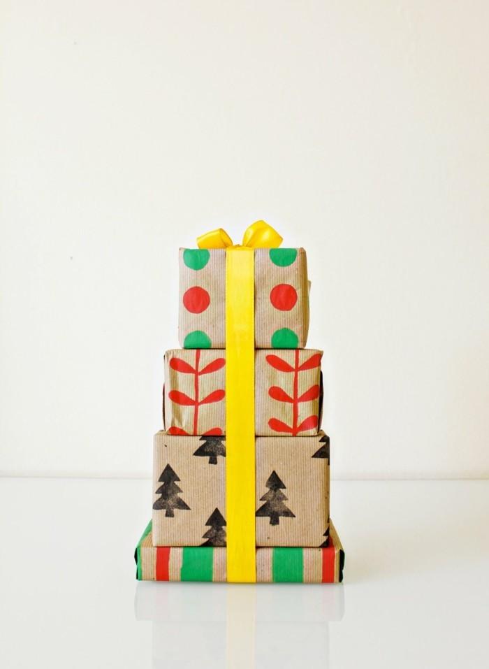 geschenkpapier weihnachten diy ideen festlich
