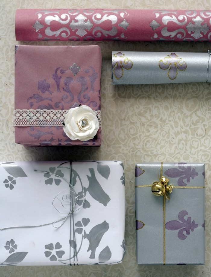 geschenkpapier weihnachten diy ideen lustige gesichter glitzer
