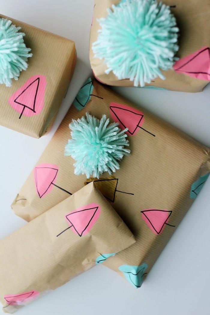 geschenkpapier weihnachten diy ideen lustige gesichter handgemalt