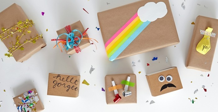 geschenkpapier weihnachten diy ideen lustige gesichter