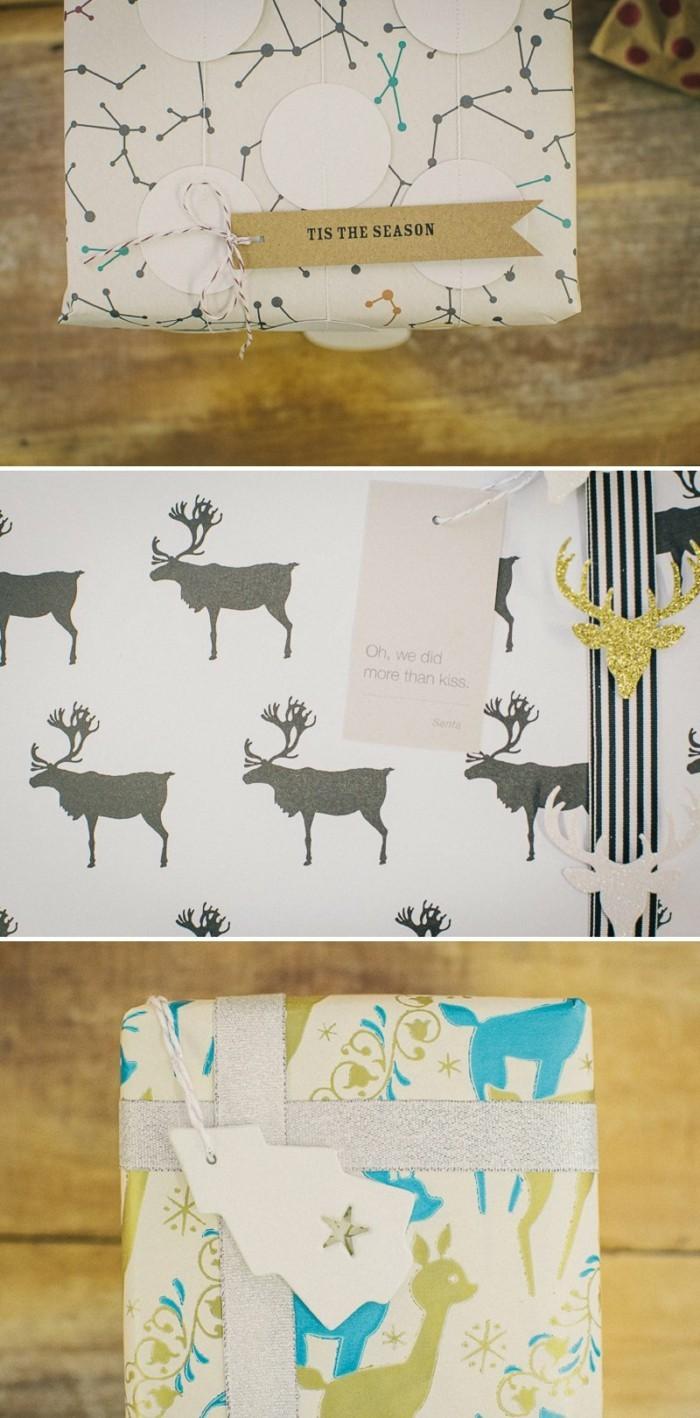 geschenkpapier weihnachten diy ideen renntiere drucken