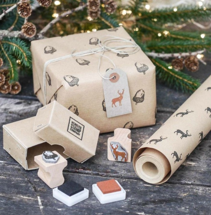 geschenkpapier weihnachten diy ideen stempel