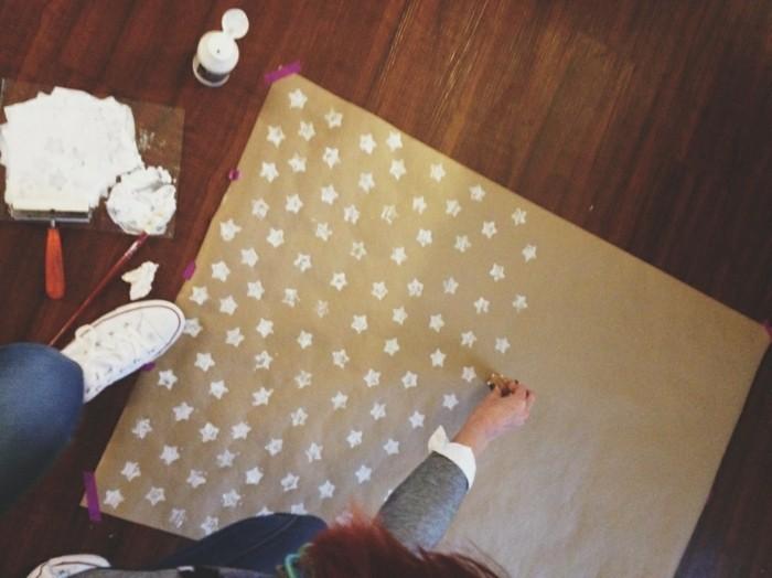 geschenkpapier weihnachten diy ideen weihanchtsbasteln