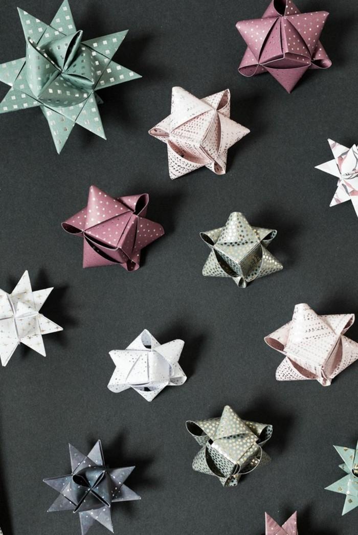geschenkpapier weihnachtsterne selber machen fröbelstern basteln