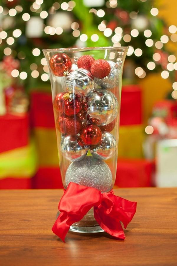 glas mit schmuck für weihnachten deko