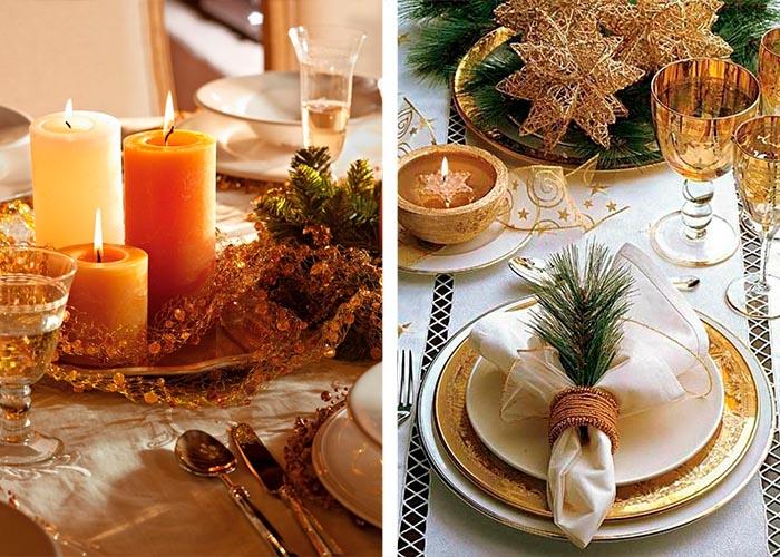 gold glitzer weihnachtstischdeko stumpenkerzen orange gelb