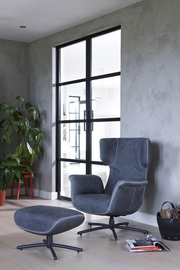 grau blauer relax stuhl aus zwei modulen