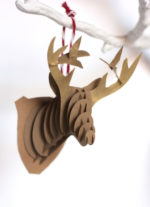 hirschkopf wanddeko weihnachten ideen