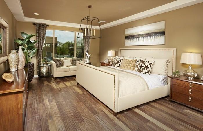 holzboden schlafzimmer neutrale wandfarbe stilvolles bett