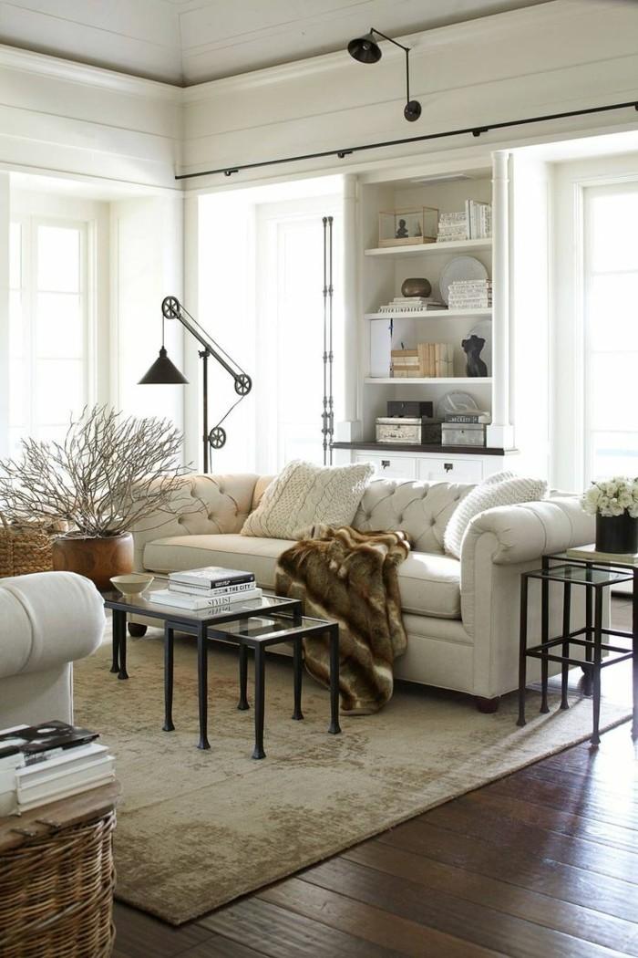 holzboden wohnzimmer einrichten stilvoller bodenbelag vintage teppich