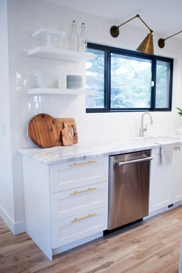 in der wand veschwindende küchenregale moderne küche