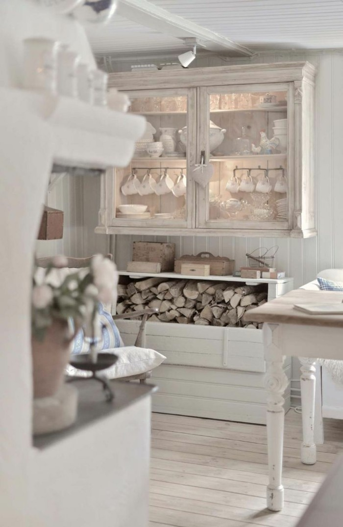 möbel shabby chic küche einrichten weiß gemütlich dielenboden