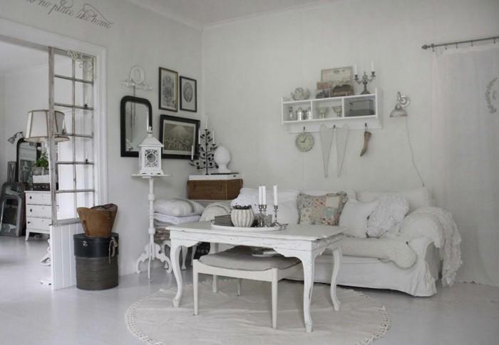 möbel shabby chic weißes wohnzimmer einrichten runder teppich