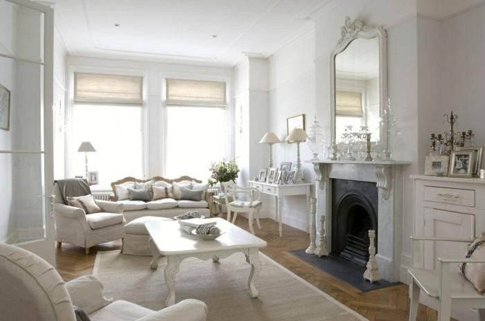 möbel shabby chic wohnzimmer offener wohnplan kamin wandspiegel