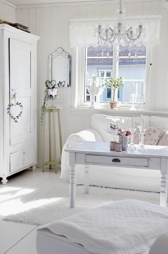 möbel shabby chic wohnzimmer weißer dielenboden helle stoffmuster