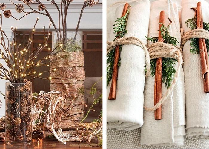 naturmaterialien weihnachtstischdeko tannengrün zimtstangen zapfen