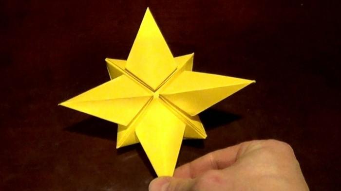 origami weihnachten stern anleitung gelb