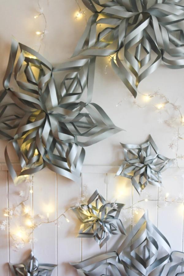 papiersterne basteln und mit lichterketten kombinieren