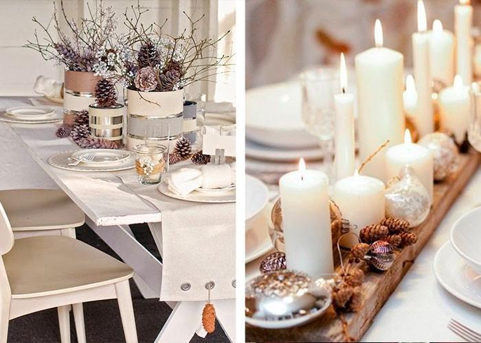 puristische weihnachtstischdeko weiße stumpenkerzen tannenzapfen
