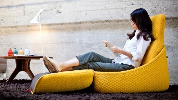 relax stuhl kissen gelb akzent