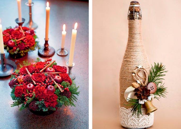 schöne weihnachtstischdeko ideen mit blumen früchten und flasche