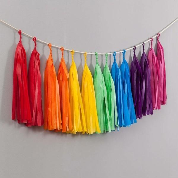 schleifen girlande quasten regenbogen