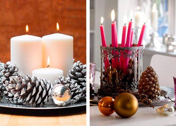stumpenkerzen tannenzapfen christbaumschmuck weihnachtstischdeko ideen