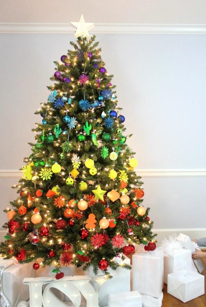 tannenbaum schmuecken deko ideen weihnachtsschmuck regenbogen