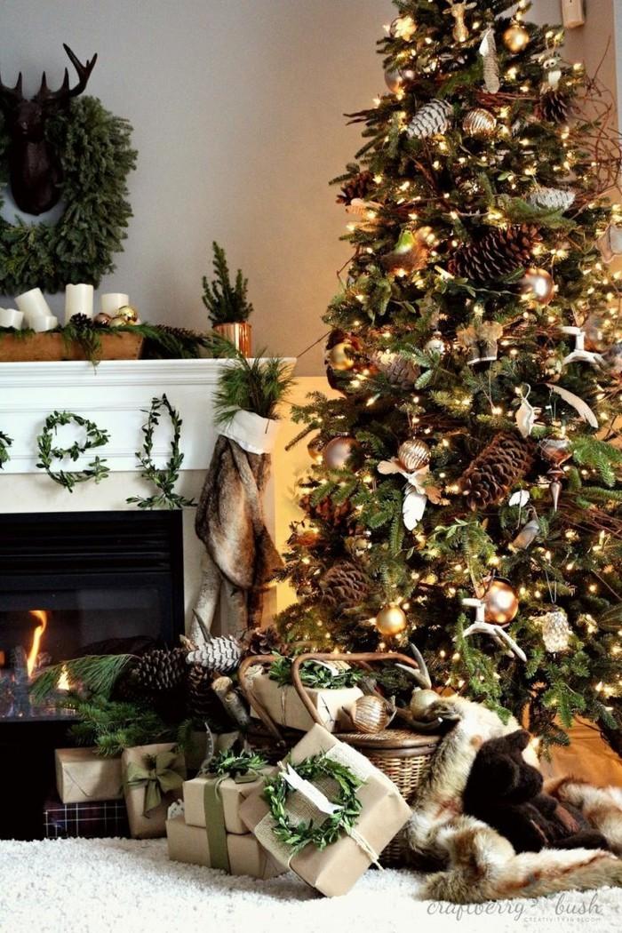 tannenbaum schmuecken deko ideen weihnachtsschmuck tannenzapfen