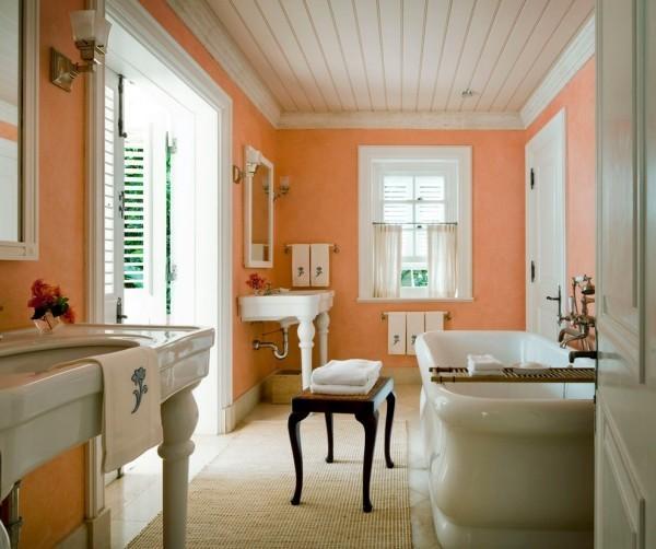 wandfarbe apricot badezimmer weiße elemente